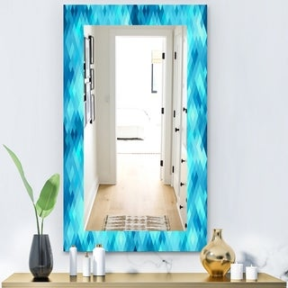 Designart 'Abstract Geometric Pattern With Rhombus' Modern Mirror - Wall Mirror - Blue