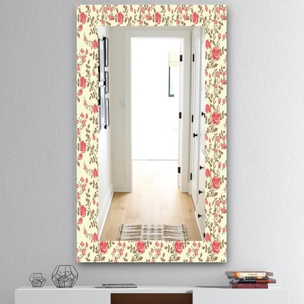 Designart 'Pink Blossom 17' Mid-Century Mirror - Vanity Mirror - Pink