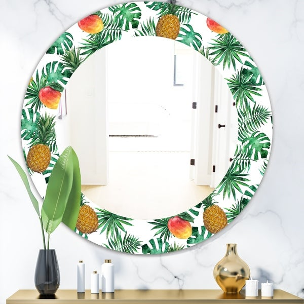 Designart 'Tropical Mood Foliage 7' Bohemian and Eclectic Mirror - Oval or Round Wall Mirror - Green
