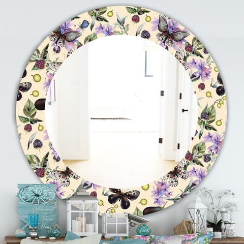 Designart 'Butterflies and Flowers' Traditional Mirror - Oval or Round Wall Mirror - Gold