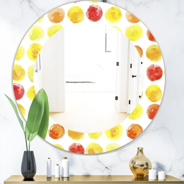 Designart 'Circular Dance 3' Modern Mirror - Oval or Round Wall Mirror - Gold