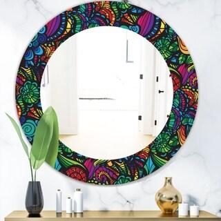 Designart 'Obsidian Bloom 12' Mid-Century Mirror - Oval or Round Wall Mirror - Blue