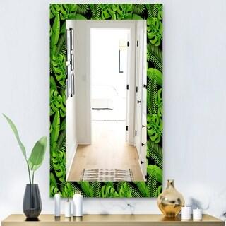 Designart 'Tropical Mood Foliage 13' Bohemian and Eclectic Mirror - Wall Mirror - Green