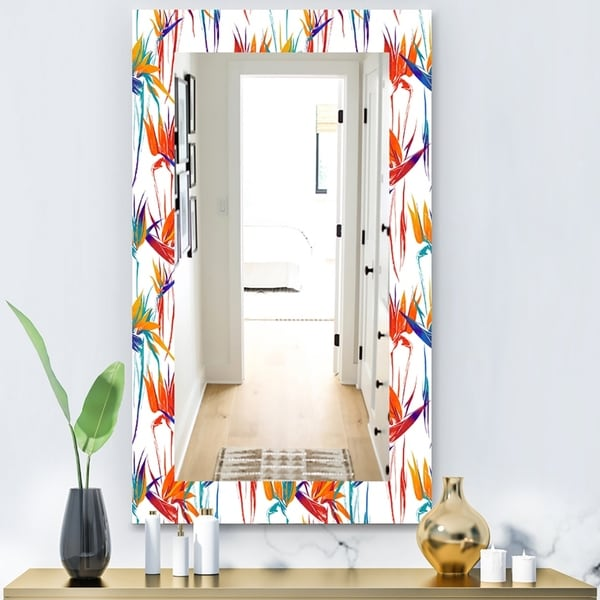 Designart 'Tropical Mood Bright 2' Bohemian and Eclectic Mirror - Wall Mirror - White