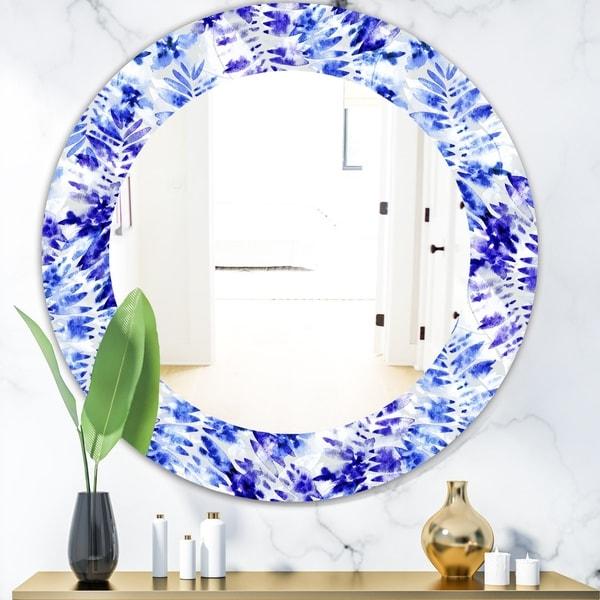 Designart 'Tropical Mood Blue 4' Mid-Century Mirror - Oval or Round Wall Mirror