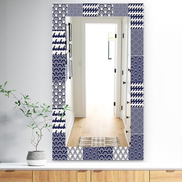 Designart 'Japanese Ocean Wave Pattern' Traditional Mirror - Wall Mirror - Blue