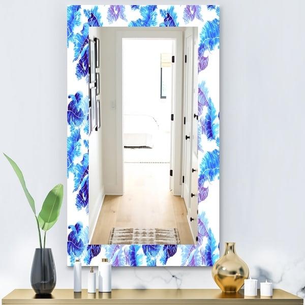Designart 'Tropical Mood Blue 5' Bohemian and Eclectic Mirror - Vanity Mirror