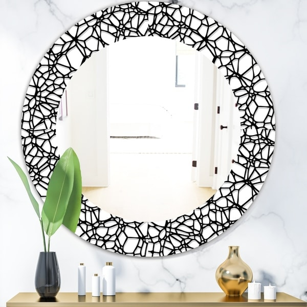 Designart 'Abstract Mosaic Pattern' Modern Mirror - Oval or Round Wall Mirror