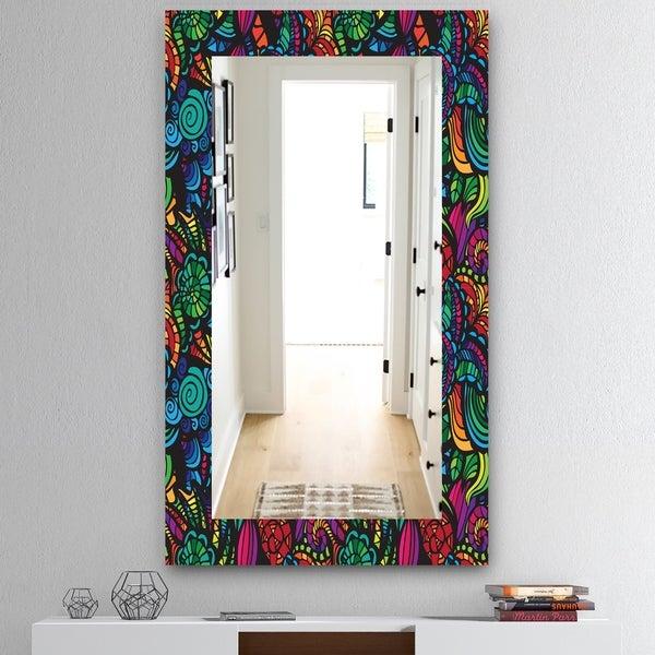 Designart 'Obsidian Bloom 12' Mid-Century Mirror - Vanity Mirror - Blue