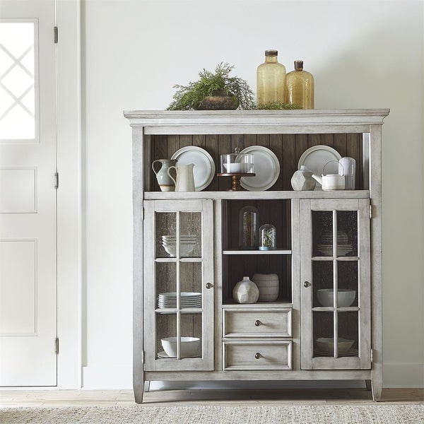 Heartland Antique White Two Glass Doors Display Cabinet