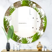 Designart 'Tropical Mood Foliage 11' Bohemian and Eclectic Mirror - Oval or Round Wall Mirror - Green