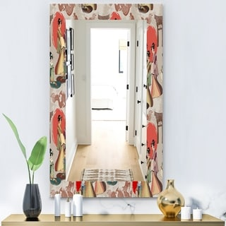 Designart 'Japanese and Chinese Culture Pattern' Bohemian and Eclectic Mirror - Vanity Mirror - Multi
