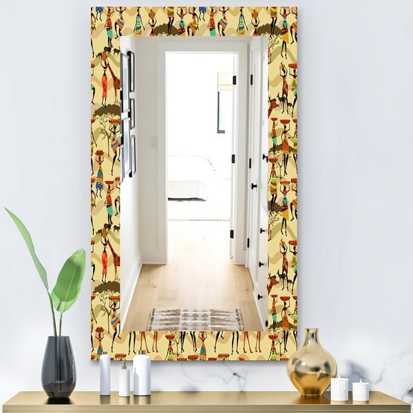 Designart 'Texture With African Women' Bohemian and Eclectic Mirror - Wall Mirror - Gold