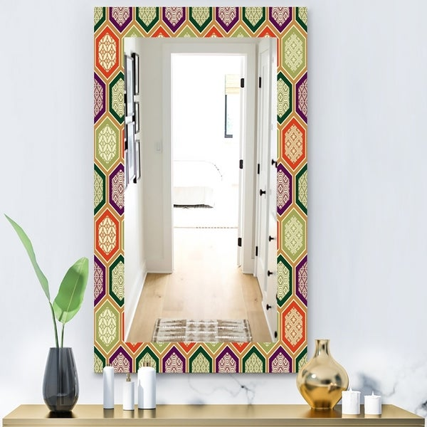 Designart 'Honeycomb 3' Modern Mirror - Vanity Mirror - Red