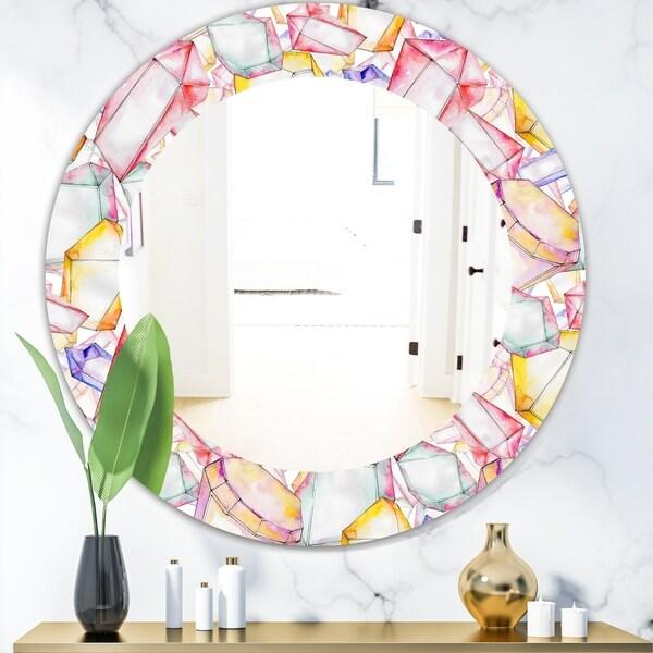 Designart 'Colorful Diamond Rock Jewelry Mineral' Modern Mirror - Oval or Round Wall Mirror - White