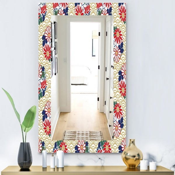 Designart 'Japanese Floral Pattern' Bohemian and Eclectic Mirror - Vanity Mirror - Gold