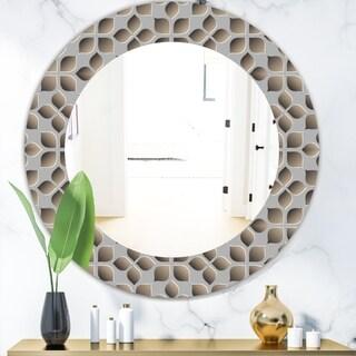 Designart 'Scandinavian 10' Mid-Century Mirror - Oval or Round Wall Mirror - Grey/Silver
