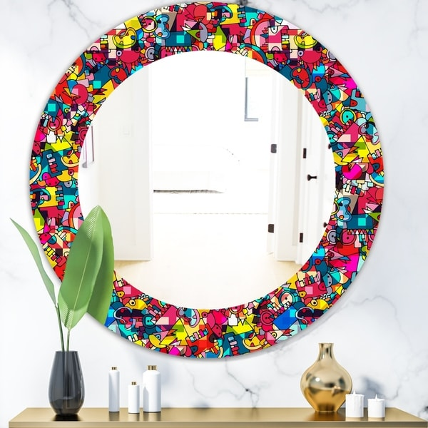 Designart 'Kids Geometric' Modern Mirror - Oval or Round Wall Mirror - Red