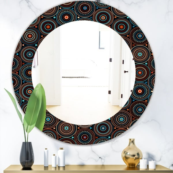 Designart 'Obsidian Impressions 4' Bohemian and Eclectic Mirror - Oval or Round Wall Mirror