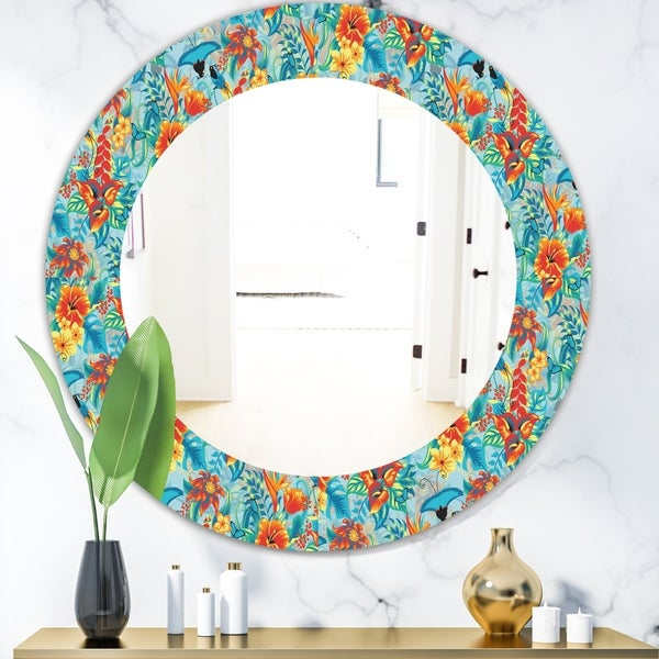 Designart 'Tropical Pattern' Bohemian and Eclectic Mirror - Oval or Round Wall Mirror - Blue