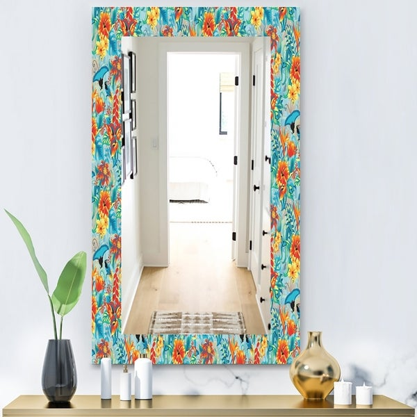 Designart 'Tropical Pattern' Bohemian and Eclectic Mirror - Vanity Mirror - Blue