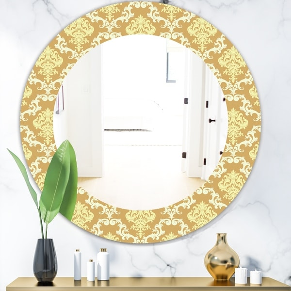 Designart 'Yellow Moods 14' Mid-Century Mirror - Oval or Round Wall Mirror - Gold