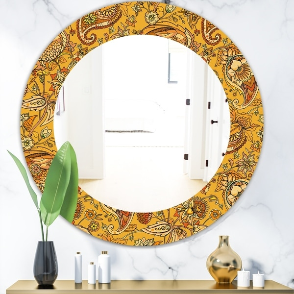 Designart 'Yellow Moods 13' Bohemian and Eclectic Mirror - Oval or Round Wall Mirror