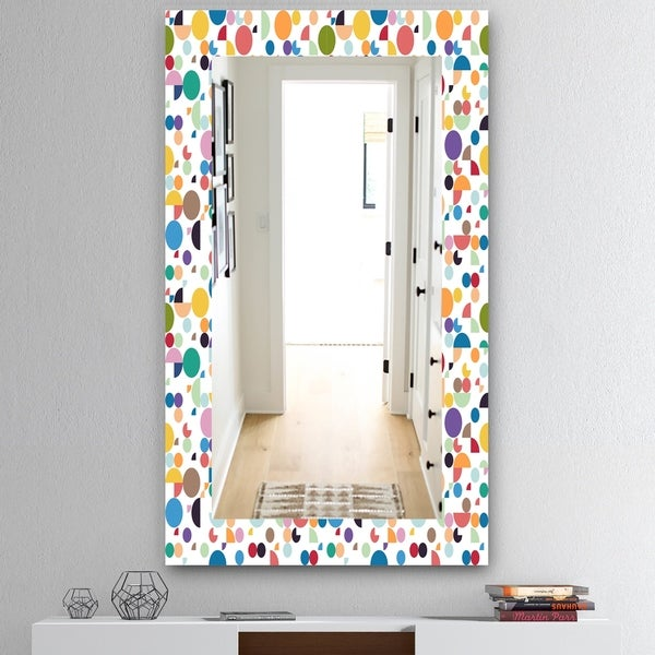 Designart 'Circular Dance 5' Mid-Century Mirror - Vanity Mirror - White