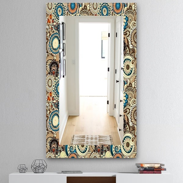 The Curated Nomad 'Paisley 10' Mid-century Modern Vanity Mirror - Brown