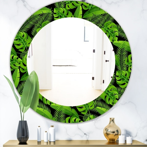 Designart 'Tropical Mood Foliage 13' Bohemian and Eclectic Mirror - Oval or Round Wall Mirror - Green