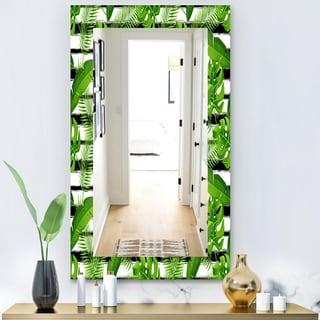 Designart 'Tropical Mood Foliage 14' Bohemian and Eclectic Mirror - Wall Mirror - Green