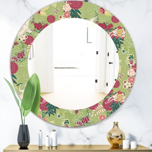 Designart 'Oriental Silk Pattern' Bohemian and Eclectic Mirror - Oval or Round Wall Mirror - Green