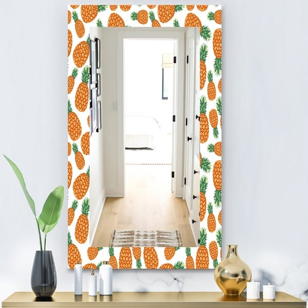Designart 'Tropical Mood Pineapple 3' Bohemian and Eclectic Mirror - Vanity Mirror - Orange