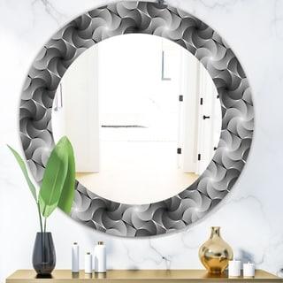 Designart 'Monochrome Hexagon Geometric Pattern' Modern Mirror - Oval or Round Wall Mirror - Grey/Silver