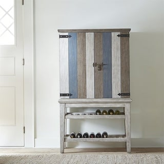 Heartland Antique White with Tobacco Top Wine Cabinet