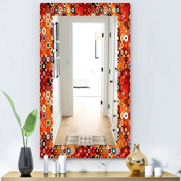 Designart 'Disco Style Pattern With Dots and Circles' Modern Mirror - Wall Mirror - Red
