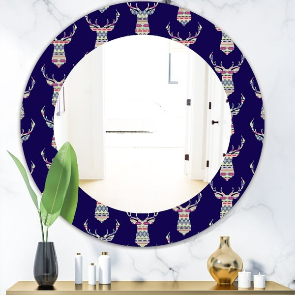 Designart 'Colorful Decorative Ethnic Pattern With Deer' Modern Mirror - Oval or Round Wall Mirror - Blue