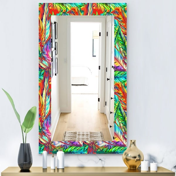 Designart 'Tropical Mood Bright 5' Modern Mirror - Vanity Mirror - Red