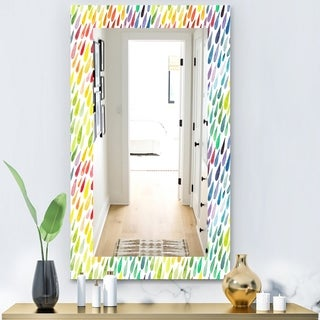 Designart 'Collection Of Paint Splash Watercolor Drops' Modern Mirror - Wall Mirror - Gold