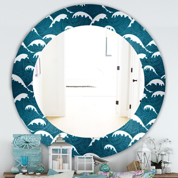 Designart 'Waves Pattern' Traditional Mirror - Oval or Round Wall Mirror - Blue