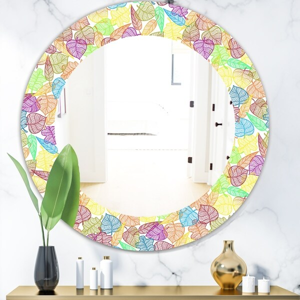 Designart 'Autumn Transparent Leaves Pattern' Modern Mirror - Oval or Round Wall Mirror - Gold