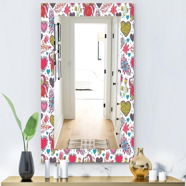 Designart 'Beautiful Flowers & Hearts Pattern' Modern Mirror - Contemporary Wall Mirror - Gold