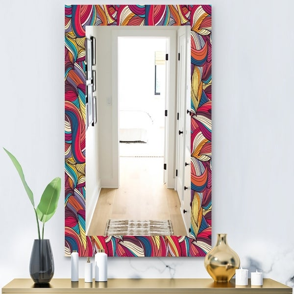 Designart 'Colorful Wave Hand' Bohemian and Eclectic Mirror - Wall Mirror - Blue