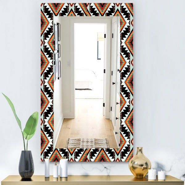 Designart 'First Nations Pattern' Bohemian and Eclectic Mirror - Modern Wall Mirror - Black