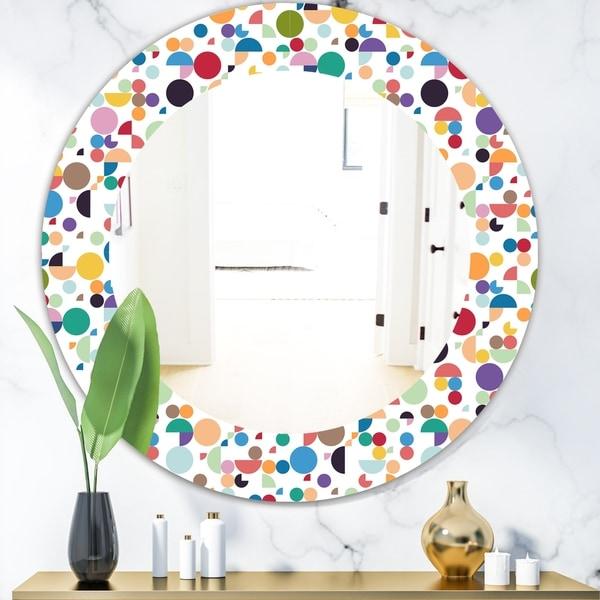 Designart 'Circular Dance 5' Mid-Century Mirror - Oval or Round Wall Mirror - White