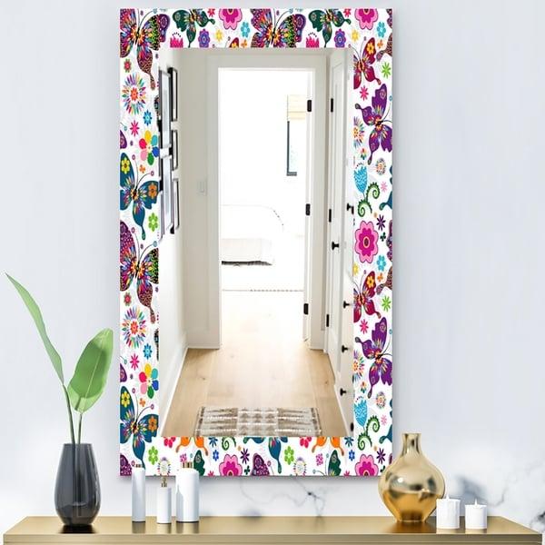 Designart 'Spring Pattern' Modern Mirror - Vanity Mirror - White