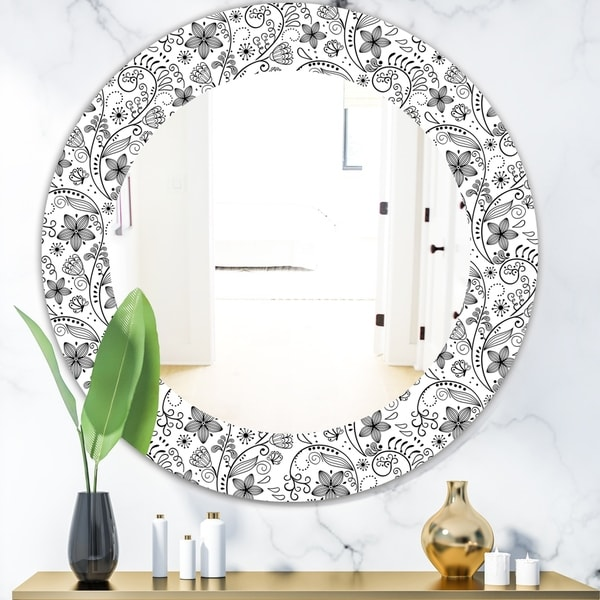 Designart 'Texture In A Flower Design' Bohemian and Eclectic Mirror - Oval or Round Wall Mirror