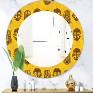 Designart 'Pattern Of Tribal Masks' Bohemian and Eclectic Mirror - Oval or Round Wall Mirror - Gold