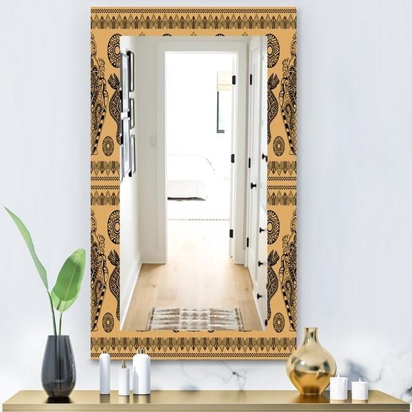 Designart 'Ethnic African Decorative Pattern' Bohemian and Eclectic Mirror - Wall Mirror - Orange