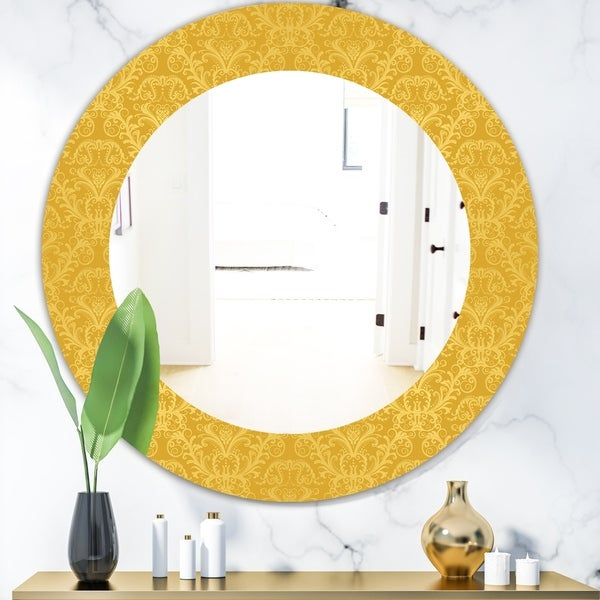 Designart 'Yellow Moods 18' Glam Wall Mirror - Oval or Round Wall Mirror - Gold